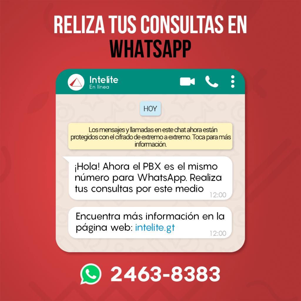 Realiza tus consultas por medio de WhatsApp